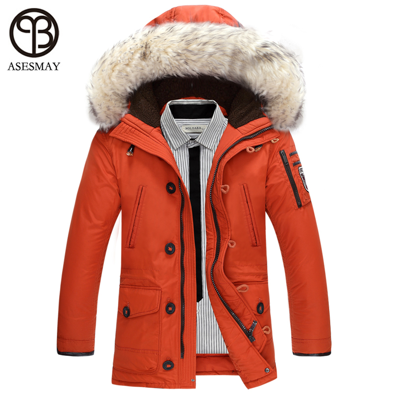 Asesmay brand clothing winter mens jacket warm thick   down     coats   men's snow casual parkas hoodies big real fur collar man jackets