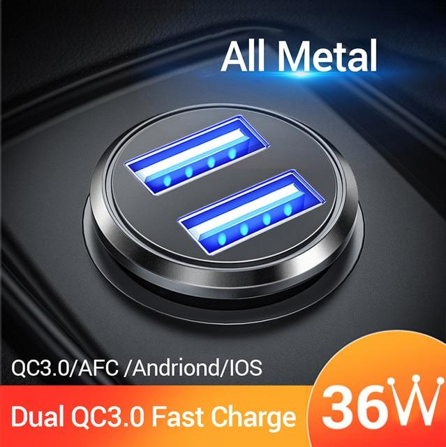 Cargador de coche FIVI Dual USB de carga rápida QC 3,0 Metal para Samsung S8 S9 S1Xiaomi Huawei Mini teléfono móvil rápido adaptador de carga de 36 W