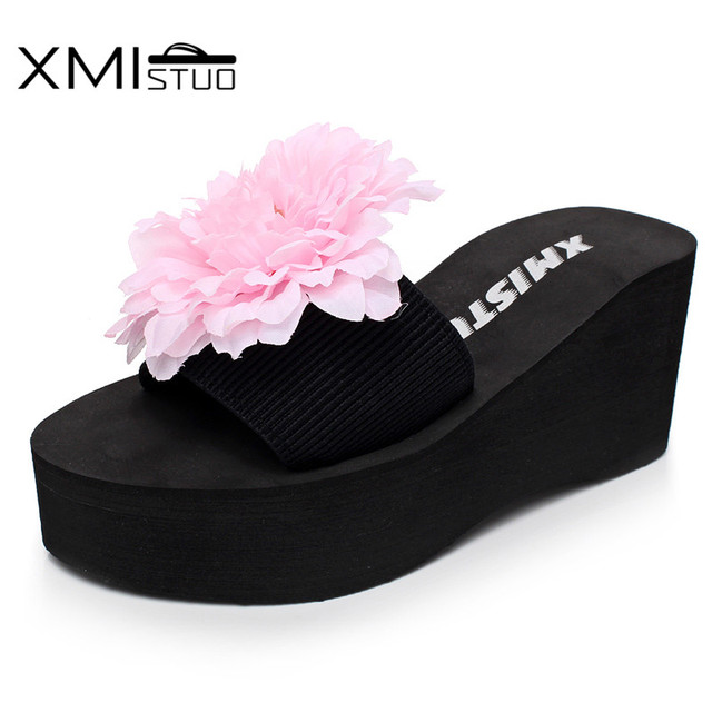 9d0dabcad48 XMISTUO Fashion Women Flip Flops with Flower Female Summer Beach Wedges  Water-resistant 7.2 CM High-heeled Slippers 8 Color 7028