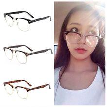 Glasses Retro Eyewear Clear-Lens Half-Frame Reading Vintage Fashion Nerd 1pc Watching