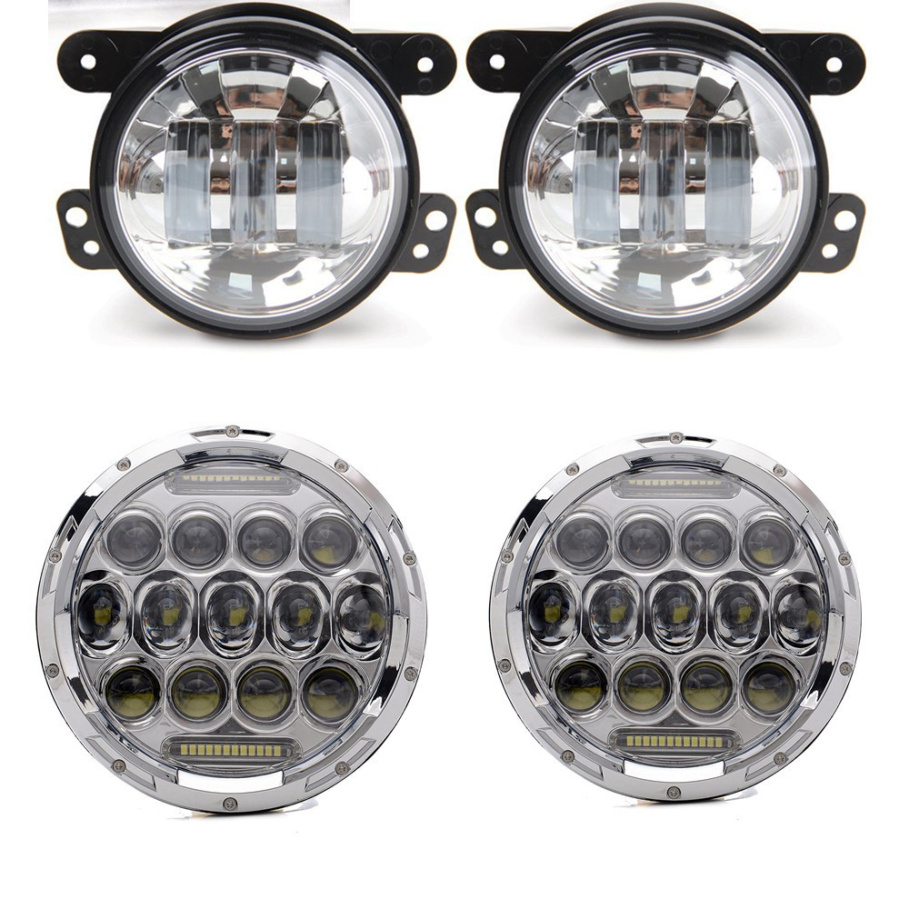 Chrome / Black Wrangler Set 7'' inch 75w LED Driving Headlights with DRL+ 4 Inch LED Front Bumper Fog Lights For Jeep JK TJ LJ windshield pillar mount grab handles for jeep wrangler jk and jku unlimited solid mount grab textured steel bar front fits jeep