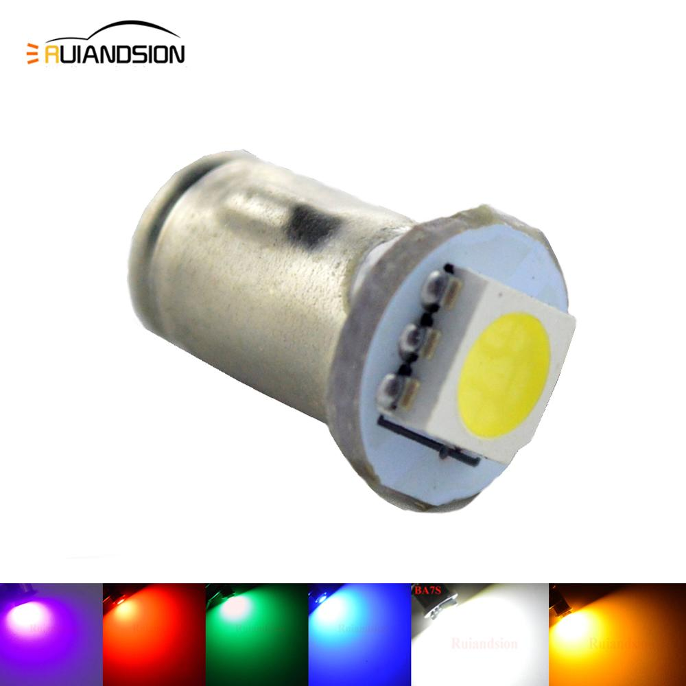 Freeshipping 100x DC 12V Ba7s LLB282 5050SMD 1 LED DASHBOARD WARNING SWITCH GREEN ICE BULB White