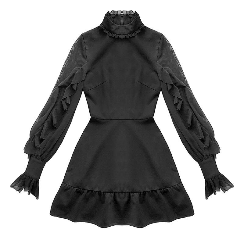 2019 été femmes papillon manches Mini robe Style Punk gothique Stand volants cou robe noire taille haute a-ligne robes Sexy