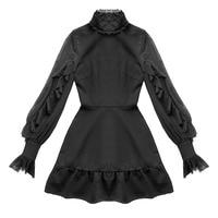 2019 Summer Women Butterfly Sleeve Mini Dress Punk Style Gothic Stand Ruffles Neck Black Dress High Waist A Line Sexy Dresses