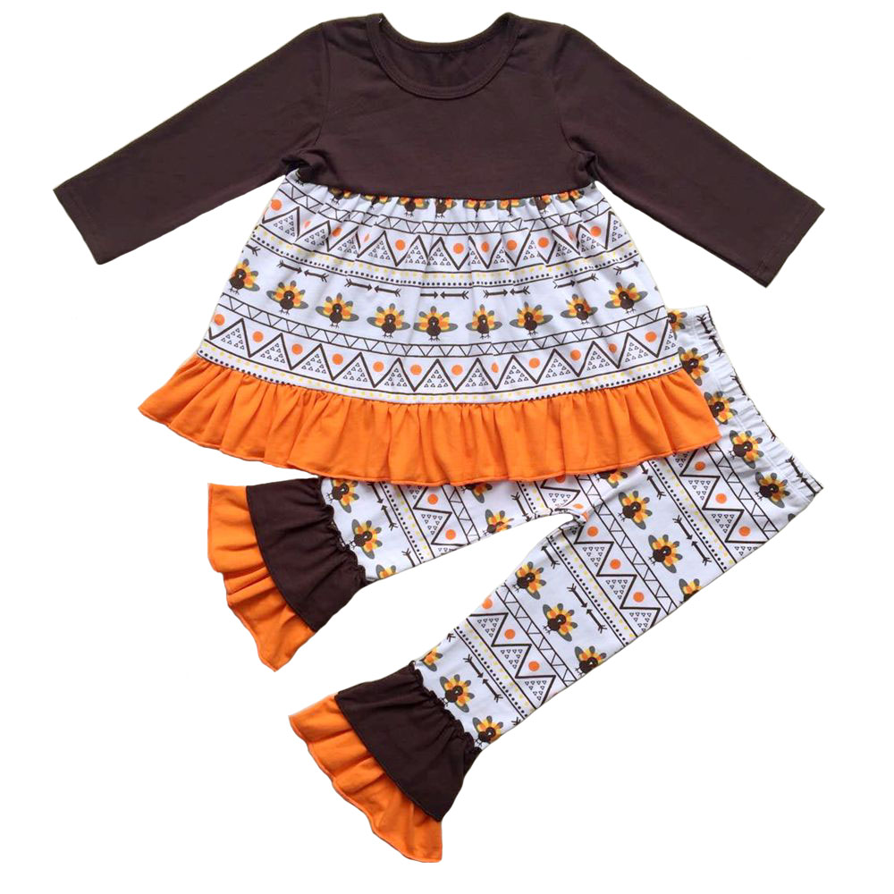 Girl's Thanksgiving Ruffle Outfits Boutique Turkey Pumpkin Halloween ruffle pants outfit girls holiday trick or treat sets halloween orange top ruffle bow pumpkin satin trim skirt girl outfit set nb 8y mapsa0866
