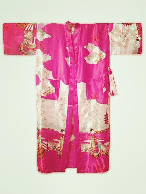 Hot Pink Chinese Women's Silk Rayon Kimono Robe Gown Flower S M L XL XXL XXXL Free Shipping S0017
