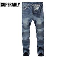 Superably Brand Men Jeans High Quality Blue Color Denim Stripe Ripped Jeans Men Summer Style Destroyed Ankle-Length Jeans Pants