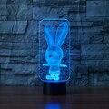 Милый кролик USB Led Настольная лампа 7 цветов Изменение 3D Ночник Новинка подарки для детей Животное ночник для ребенка