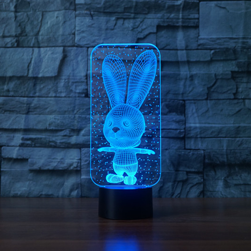 Cute Rabbit USB Led Table lamp 7 Color Changing 3D  Night  Light Novelty Gifts For Children Animal night light for Baby|3d night|novelty gifts|3d night light - title=