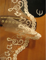 off white Lace Trim, Embroidered Musical Note lace, Cotton Bridal Lace Fabric, 2 yards, LT120EM
