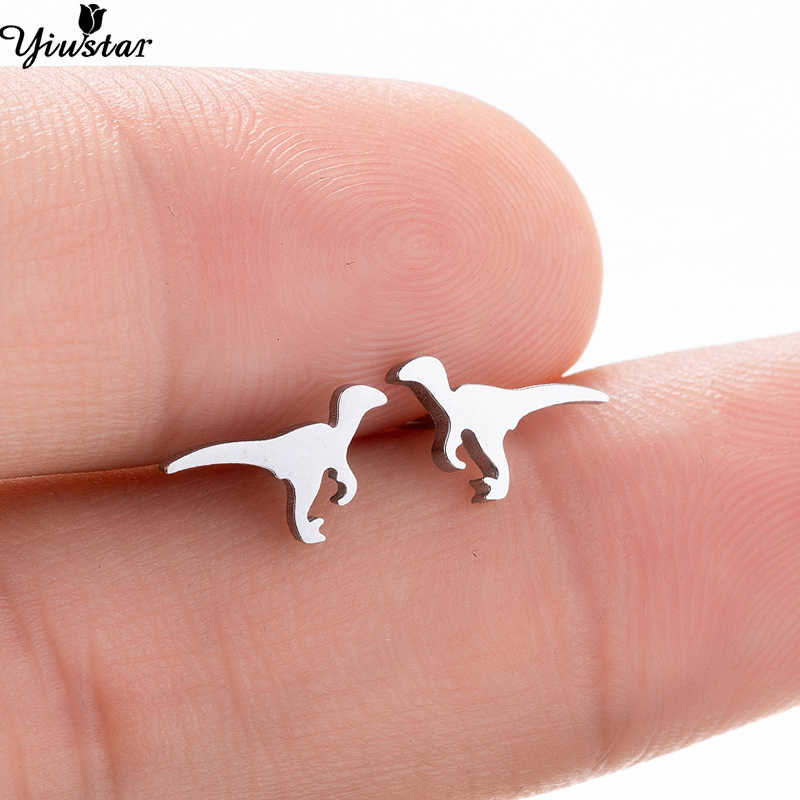 Yiustar Ancient Wild Tiny Cute Dinosaur Stud Earrings for Kids Vintage Small Stainless Steel Earrings for Women Girls Decoration