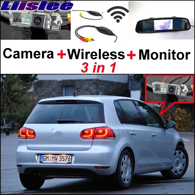 Liislee Special Camera Wireless Receiver + Mirror Monitor Parking System For Volkswagen VW Golf4 Golf 4 Golf5 Golf 5 Golf6 Golf wireless pager system 433 92mhz wireless restaurant table buzzer with monitor and watch receiver 3 display 42 call button