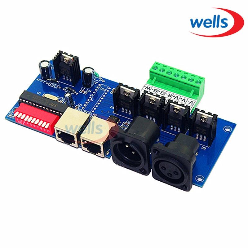 4CH 4 CH x 4A s rozhraním RJ45 RGBW LED ovladač Easy DMX DMX512 dekodér, stmívač, pohon, DC12V-24V pro LED pásové světlo