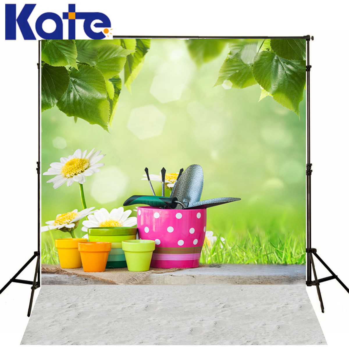 KATE Photo Backdrops White Flowers Green Grass Children Photo Background Flowerpot Pavement Background For Baby Photo Shoot seattle mariners felix hernandez photo photo sport poster
