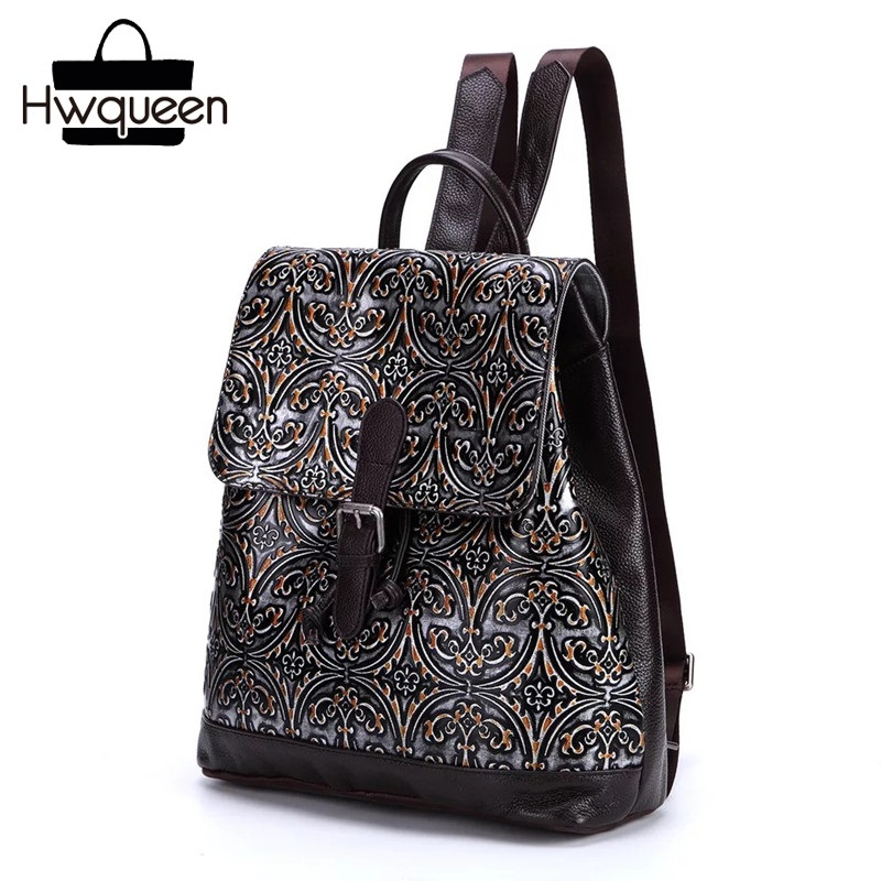 Preppy Style Embossing Designer Genuine Leather Drawstring Closure Girls School Backpack Vintage Female Women Casual Backpack preppy style drawstring and canvas design satchel for women