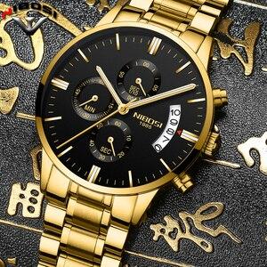 Image 4 - NIBOSI Relogio Masculino bir Prova D gua Grande saatler erkekler lüks marka tam çelik kuvars saatler erkek deri kronograf saat