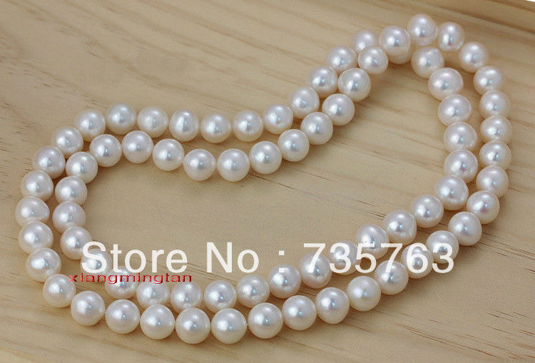 "HOT N97 AAAAA 35""8-9mm REAL south sea white pearl necklace 14KGP"