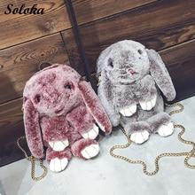 Rabbit Faur Fur Leather Chain Bag Female New Winter Grass Bag Shoulder Bag Rabbit Cute  Women Girl Crossbody Bag