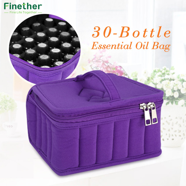 Finether 30 Bottle Essential Oil Case Carrying Holder Perfume Oil Portable  Travel Storage Box Nail