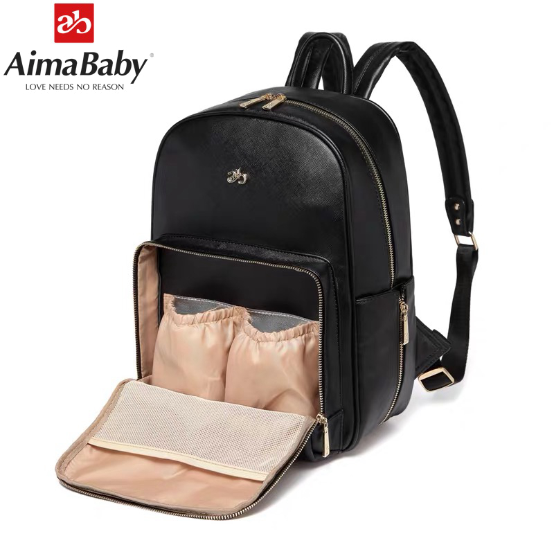 Baby Diaper Bag Organizer PU Leather Fashion Mummy Maternity Bag Backpack + Changing Pad + Wet Bag + Stroller Straps
