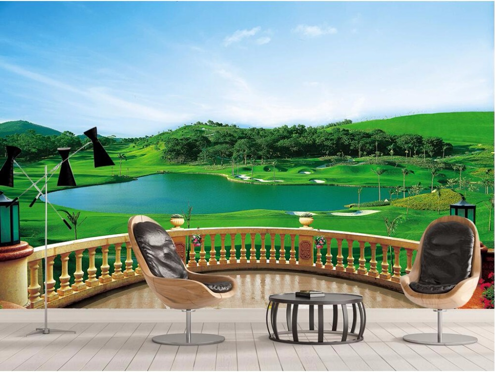 Custom mural 3d photo wallpaper the balcony golf course for Custom mural wallpaper