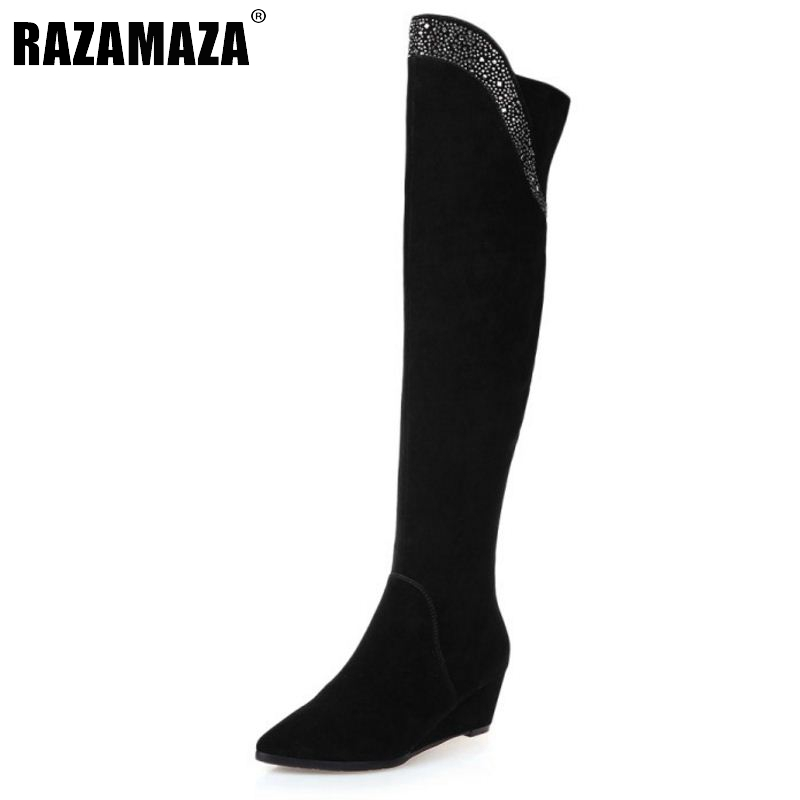 RizaBina Long Wedge Winter real leather Boots Round Toe Fashion Over Knee Boots For Women Brand Designer New Boots Size 34-39 new coil spiral notebook diary paper a5 50 sheets note book notepad office school supplies notebooks note book gift