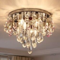 Okrągły kryształowy sufit żyrandol salon sypialnia restauracja luminarias para sala K9 kryształowy żyrandol podsufitowy