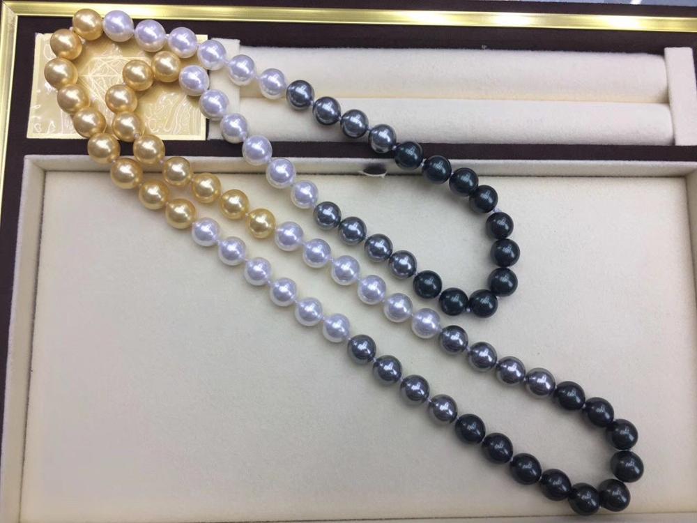 Souths ea 10-11mm collier de perles d'eau douce multicolore rond 38 pouces 925 argent