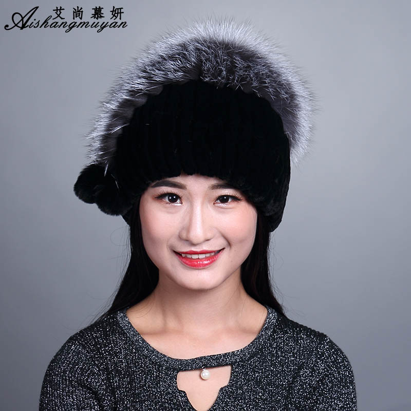 Fashion Natural Rabbit Fur Hat Ladies Fur Pompom Knitted Beanie With Fox Fur Top Female Beanies Knit Caps Winter Hats For Women autumn winter beanie fur hat knitted wool cap with raccoon fur pompom skullies caps ladies knit winter hats for women beanies