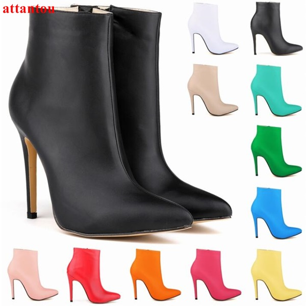 2017 Autumn fashion woman ankle boots pink red green blue color thin heel short boots glaze surface female Gladiator booties 3 color red pink blue cherry cardigan coat