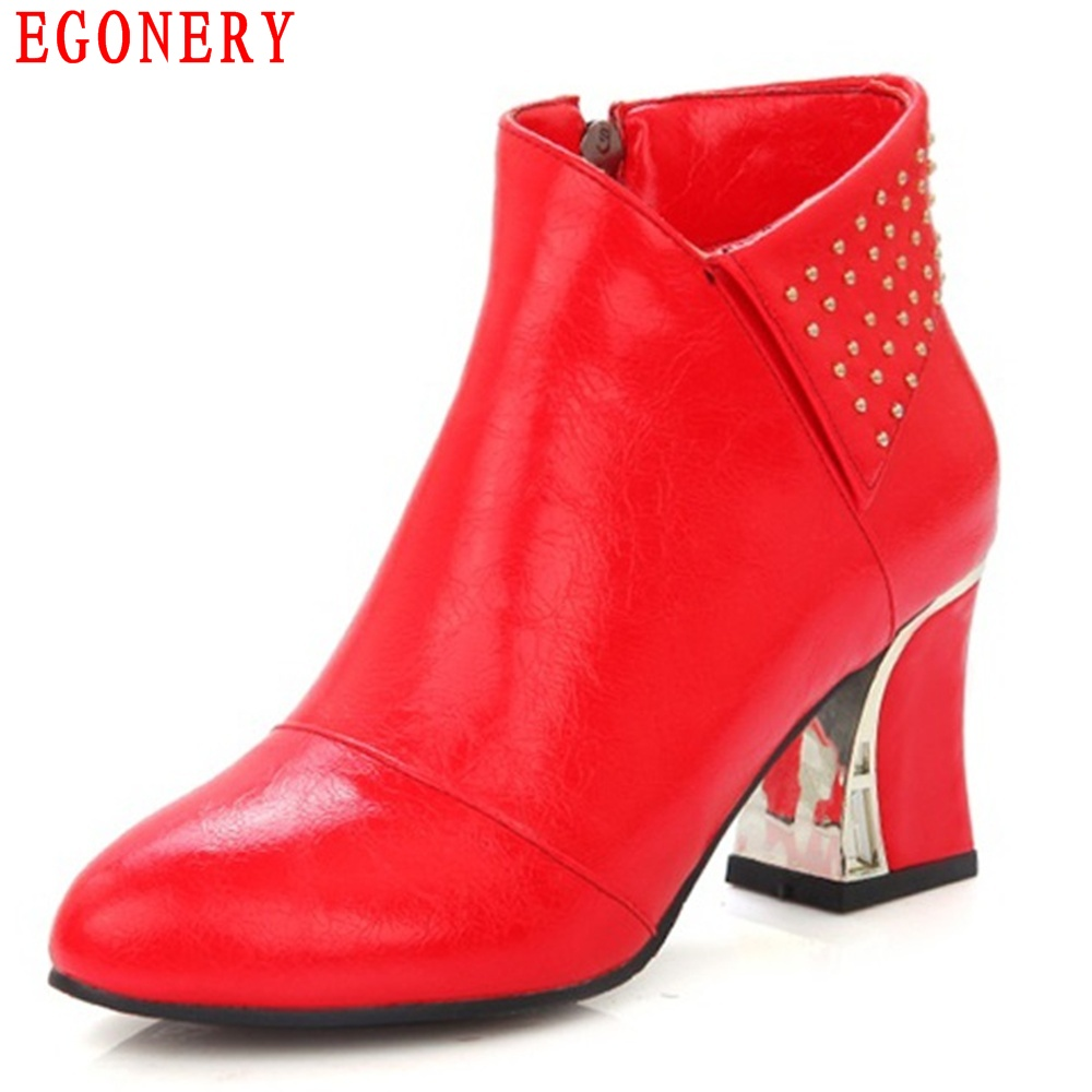EGONERY Thick High Heels Round Toe Faux Leather Zipper Rivets Woman Ankle Boots Autumn Vintage Riding Boots for Womens egonery quality pointed toe ankle thick high heels womens boots spring autumn suede nubuck zipper ladies shoes plus size