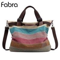 Fabra New Quality Handbag Women Canvas Shoulder Bags Casual Tote Vintage Women Messenger Bags Striped Leisure Crossbody Bag