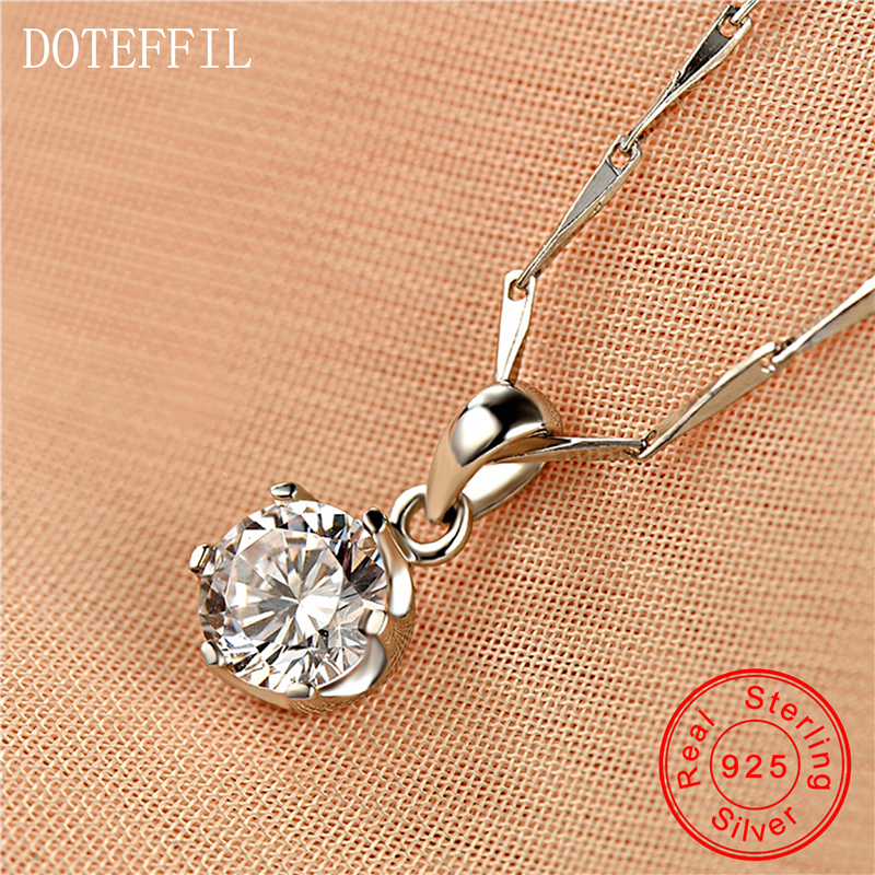 925 Silver Pendant Simple Fashion Necklace Women's Round AAA Zircon Luxury Charm Jewelry Silver Necklace