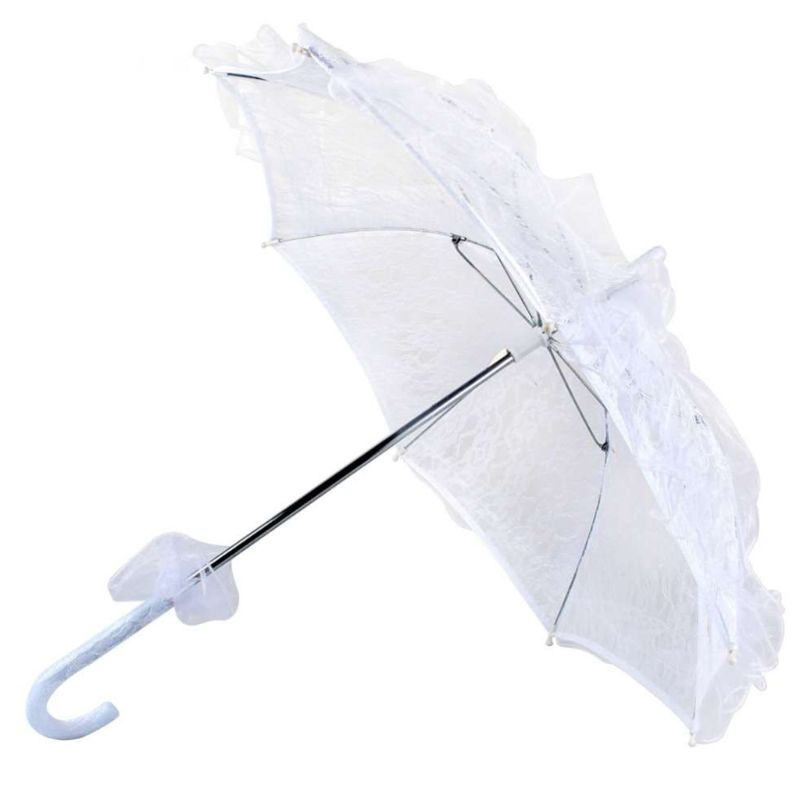Femmes Style occidental mariage dentelle florale parapluie mariage nuptiale ouverture manuelle Fleur Parasol volants garniture romantique