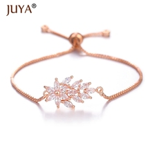 Juya 2019 NEWEST Trendy 10 Styles Gold Silver Rose Exquisite Austrian Crystal Flowers Bracelets For Women Ladies Girls Gift