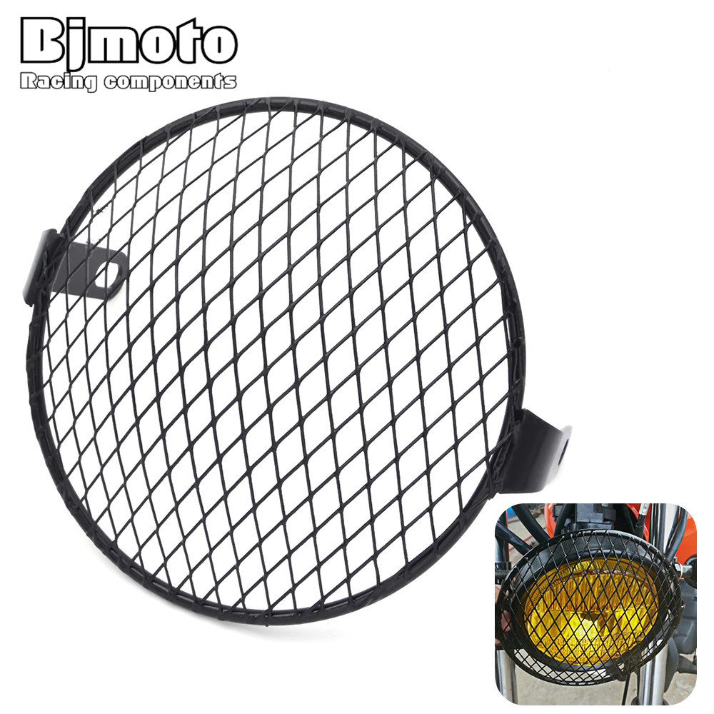 6.5 Black Rhombus Grid Grill Side Mount Headlight Cover Motorcycle Headlight Lamp Mesh Grille Cover For Harley Honda Cafe Racer xuankun cafe racer generations of motorcycle off the rail scrambler right side cover frame cover
