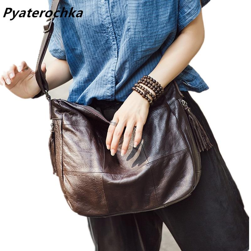 Pyaterochka Brand Genuine Leather Bag Women Handbags Tassel Fashion Ladies Shoulder Bag 2018 High Quality Luxury