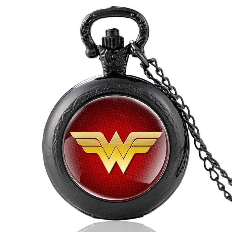 New Arrivals Vintage Wonder Woman Black Quartz Pocket Watch Retro Men Women Pendant Necklace Watches Christmas Gifts