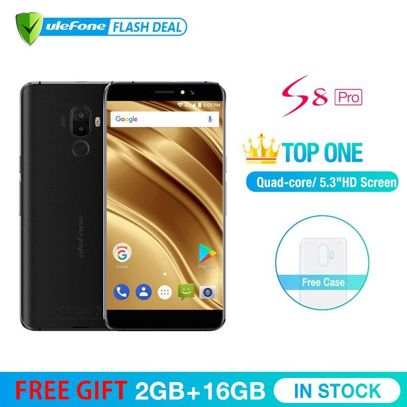 Ulefone MTK6737 S8 Pro Telefone Móvel 5.3 polegada HD Quad Core Android 7.0 gb + 16 2 gb Fingerprint 4g de Smartphones