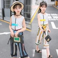 Cool Summer Girls Clothing Set O-neck Sleeveless Tshirt + Pants 2 Pieces Vintage Chiffon Princess Costume Clothes Suit