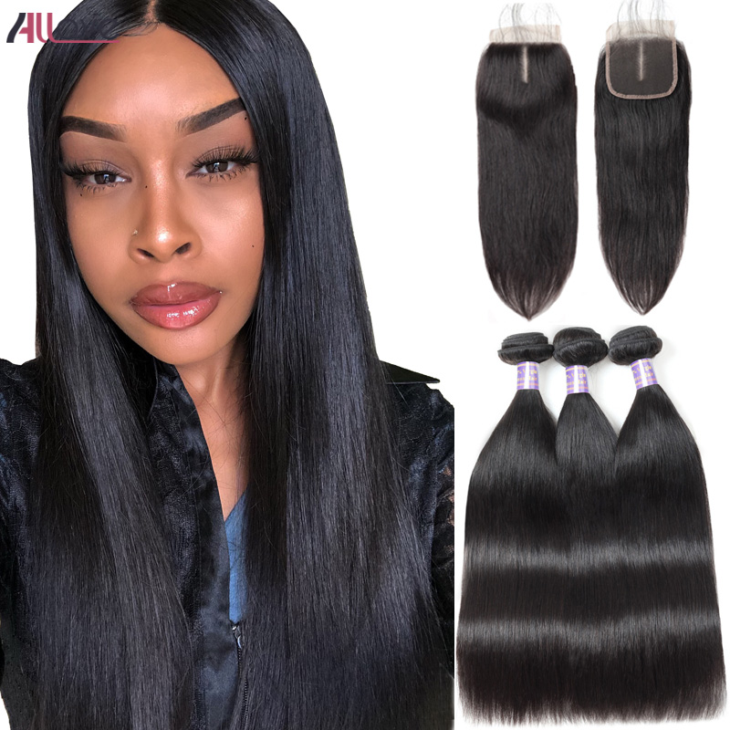 Allove Brazilian Straight Virgin Hair Bundles With Closure Brazilian Virgin Human Hair Bundles With Closure 3 Bundles Deals