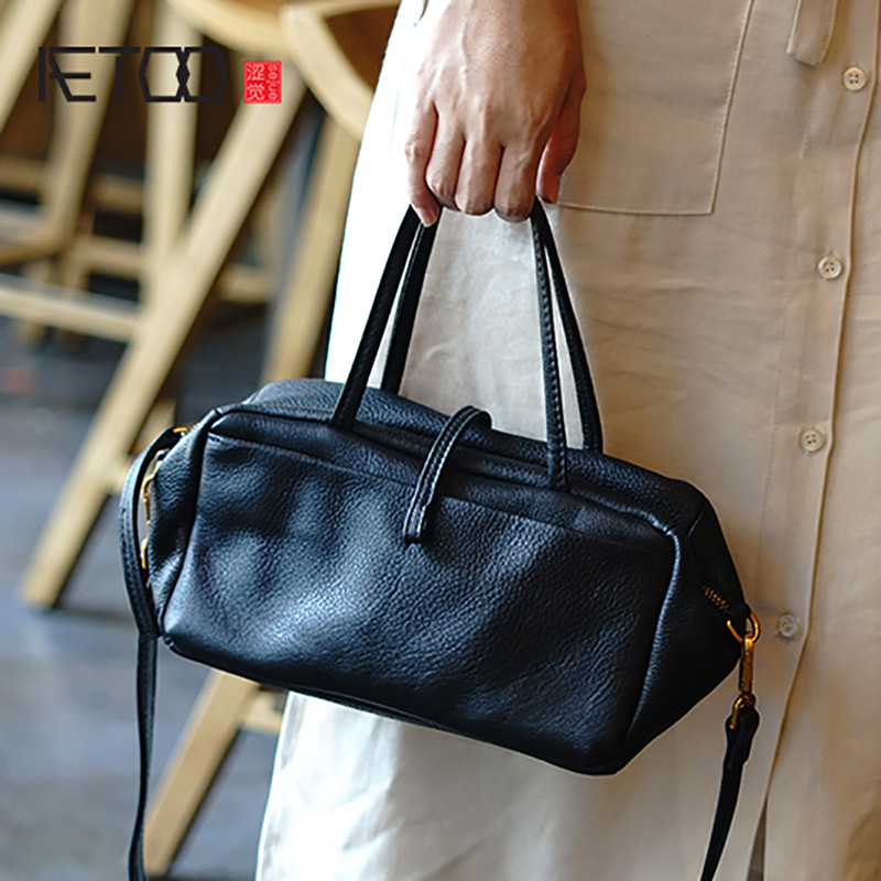 AETOO Simple and practical retro doctor bag cowhide shoulder light oblique cross bag portable commuter leather casual female bagAETOO Simple and practical retro doctor bag cowhide shoulder light oblique cross bag portable commuter leather casual female bag