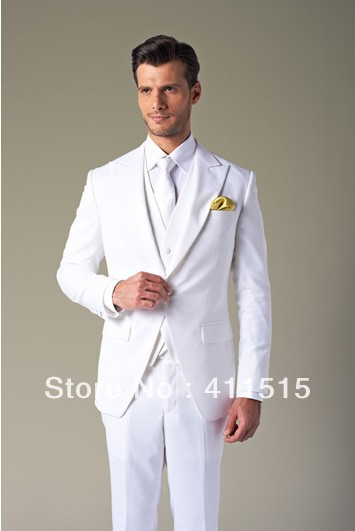 Free Shipping!custom Made Suits/Hot Recommend Attractive White Suit Groom Wear Wedding Tuxedo/evening Groom Dress Vest
