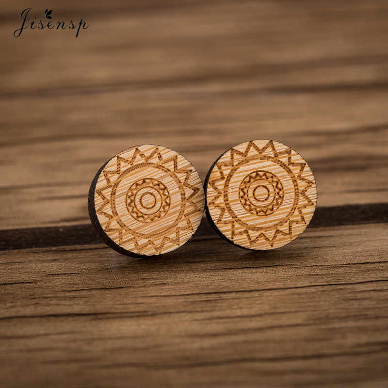 Jisensp Classic Ethnic Round Wooden Earrings Female Boho Geometric Simple Stud Earrings for Girls Ear Jewelry Birthday brincos