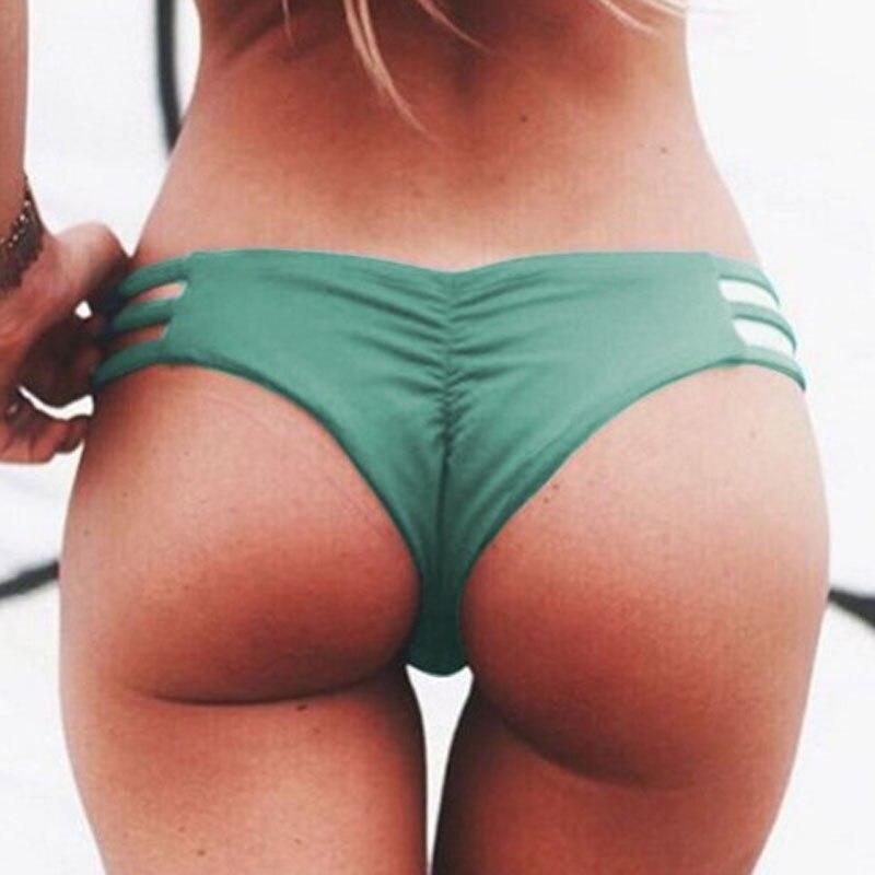 TDFunlive 2020 V Shape Sexy Female Swimwear Women Swim Brief Brazilian Bikini Bottom Cheeky Butt Thong Tanga Panties Underwear