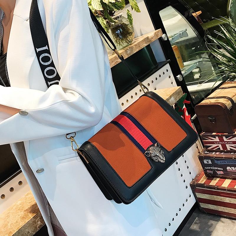 New fashion hit color belt shoulder bag Scrub PU leather retro small square bag Messenger.