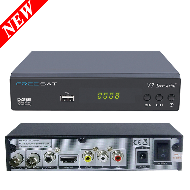 [Genuine] V7 Freesat HD DVB T2 Receptor de Tv Digital DVB-T/T2 V7 Terrestre Receptor de Satélite Completa 1080 P HD Suporte Dolby AC-3