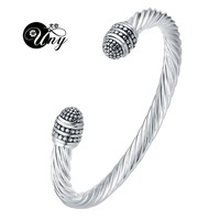 UNY Fashion Jewelry Twisted Cable Wire Retro Antique Bangle Elegant Beautiful Dots Valentine Mothers Day Gift