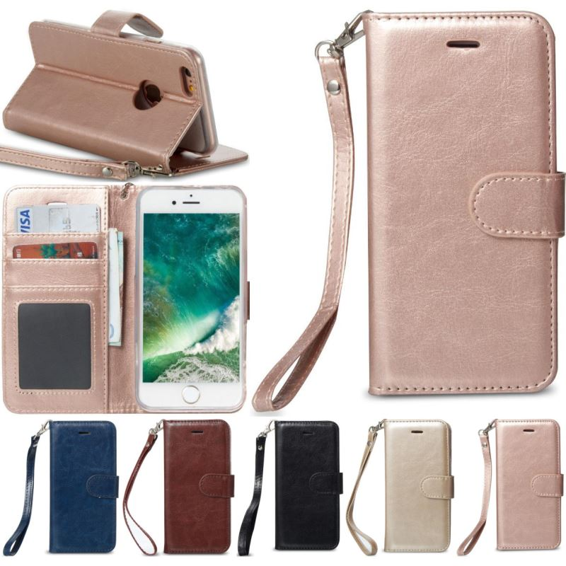 Luxury Flip Phone Case For apple iPhone X Xs Max Xr 8 7 6 S 6S Plus 5 5S SE Single Color Leather Case Wallet Stand Fundas P23Z in Flip Cases from Cellphones Telecommunications