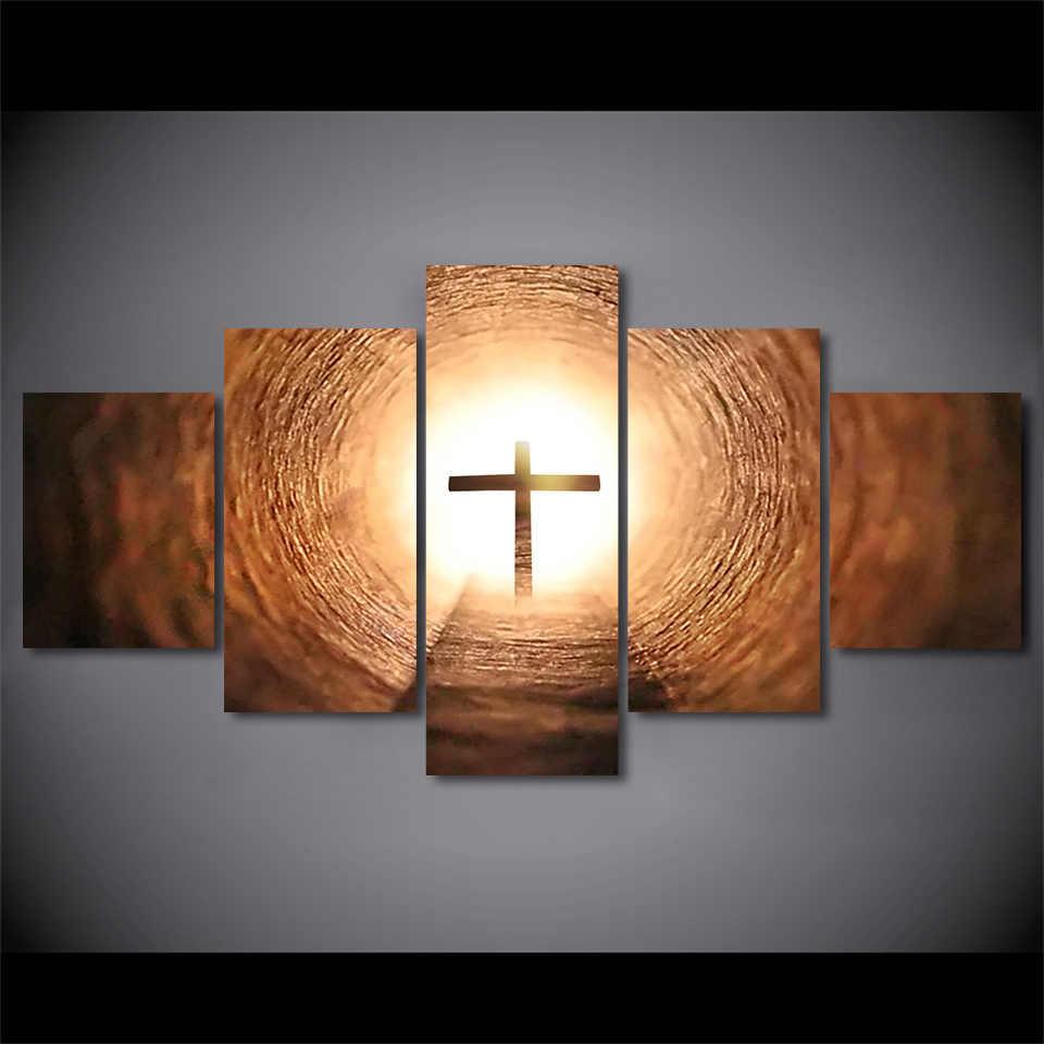 キャンバス写真ルームの壁アートポスターフレームモジュラー HD プリント装飾 5 ピースクリスチャンクロス風景イエス